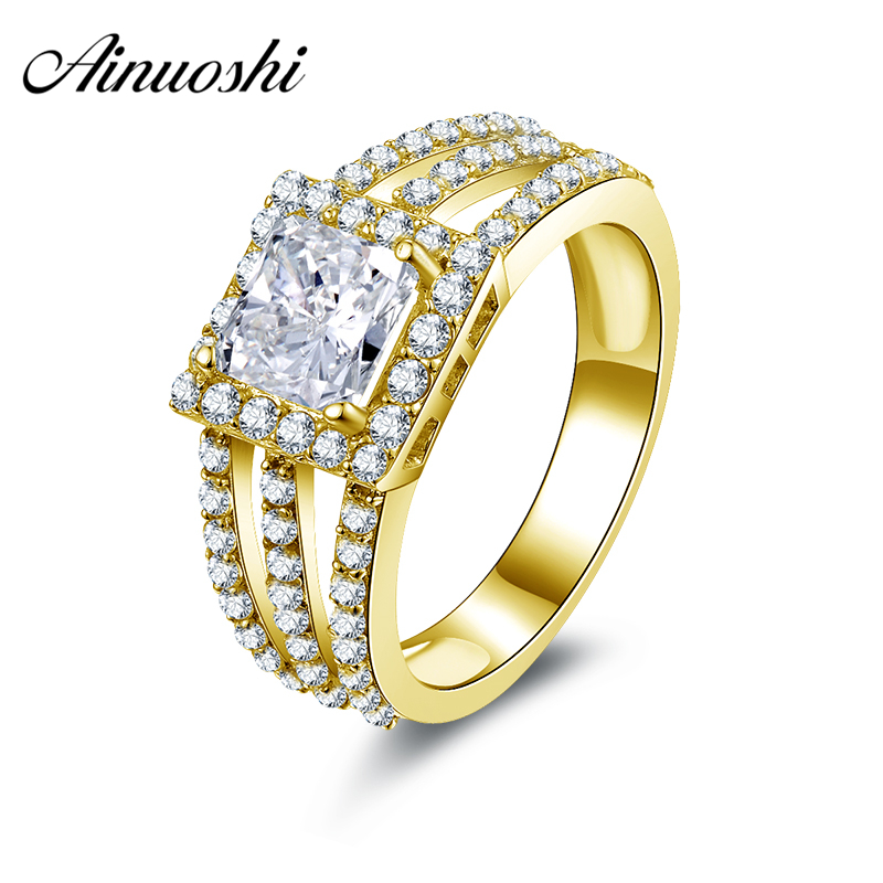 все цены на AINUOSHI 10k Solid Yellow Gold Wedding Rings Bague Femme de Marque de Luxe Engagement Jewelry Princess Halo Women Wedding Rings онлайн