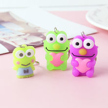 Cartoon frog Key chain Candy Color Big eyes frog Female Bag Car Pendant keychains Children's Backpack Accessories Small Gift(China)