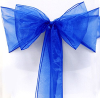 Durable 25 Royal Blue Organza Chair Cover Sashes Bow For Wedding Party Decor