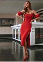 2018 High Quality Bandage Dress Red Women Sexy Off Shoulder Bandage Dress For Elegant Celebrity Party Dress Wholesale L 185