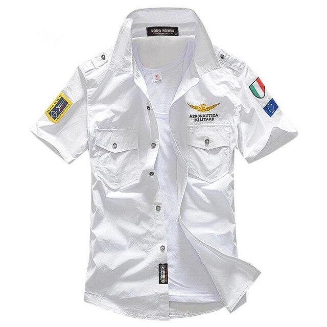 Los hombres de Manga Corta Camisa Chemise Homme Camisa Aeronautica militare Air Camisas Hombre Camisas de Vestir Camisa Masculina Sociales