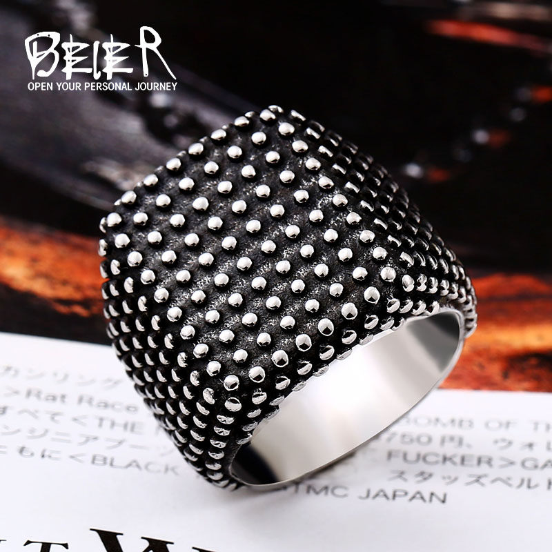 BEIER Europe and America Rock Gypsophila Ring 316l stainless steel Gothic style Male jewelry Free shipping gift BR8-528 image