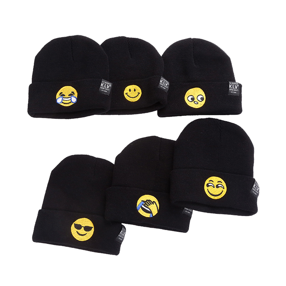 Funny Emoji Beanies For Men Women Winter Lovely Facial Expression Knitted Caps Warm Wool Cap Outdoor Warmth Hat Cover Face Hats