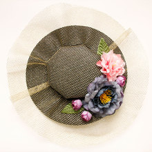 New Arrival Gold Mesh Wedding Hat for Bridesmaid Vintage; women shoes with fansinator hat hair clips beautiful women party hat accessories FJ-68