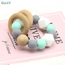 Beech Baby Bracelet Animal Shaped Jewelry Teething For Baby Organic Wood Silicone Beads Baby Rattle Stroller Accessories Toys(China)