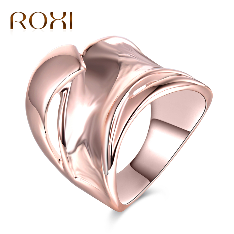 ROXI Unique Rose Gold Color Wave Rings for Women Fashion Geometric Cocktail Party Wide Rings Jewelry Size 7 8 9 anillos mujer