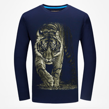 BB 01-02  New Plus Men's 3D T shirts Long Sleeve Breathable Washed Print Tiger On the Night Men's T shirts Antumn