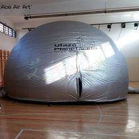 Silver color inflatable astronomic planetarium tent,science Discovery dome marquee with zipper entry/logo for school education