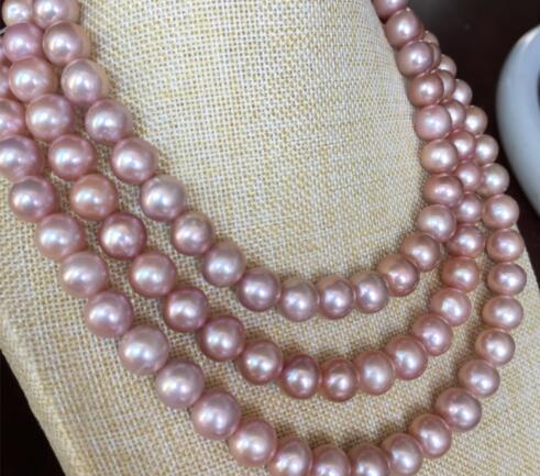 Élégant 10-11mm mer du sud collier de perles de lavande lumière ronde 48 pouces