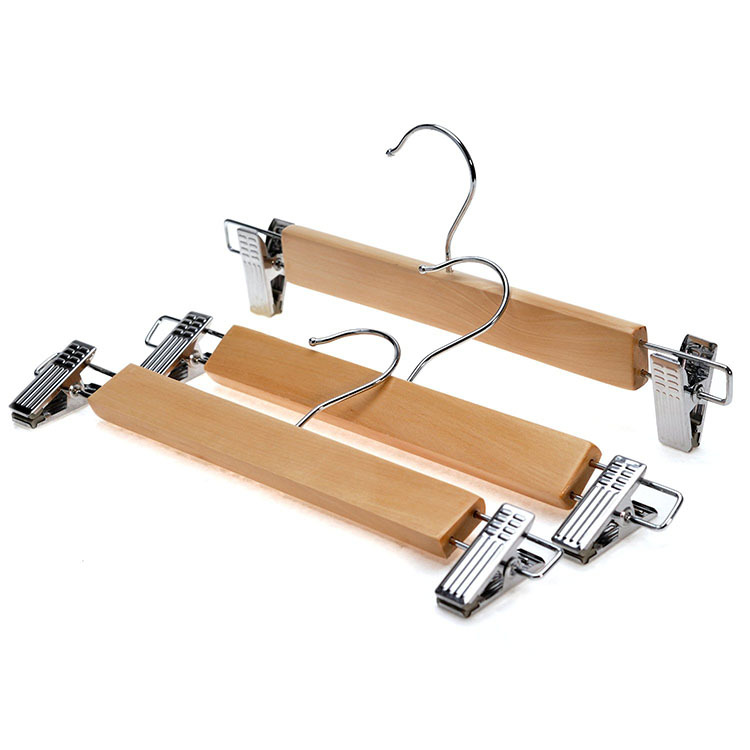 hangerworld natural wood skirt hangers wooden pants hangers with chrome hardware natural hardwood hanger