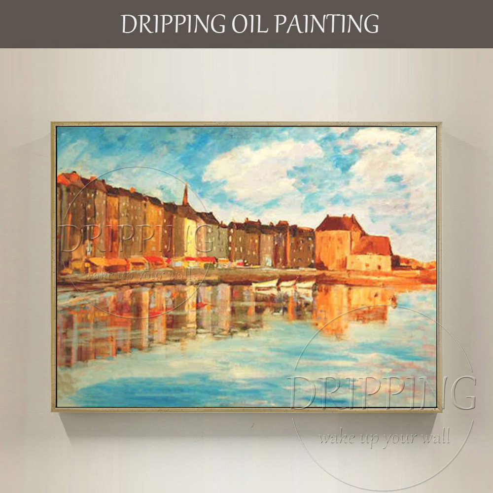 Professional Artist Hand painted High Quality Impressionist Building Landscape Oil Painting Blue Sky and Sea City Oil Painting