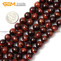 Round Red Tiger Eye Stone Natural Loose Beads 8 10 12 14 16mm Strand 15inches Diy