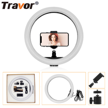 Travor 30cm/12 160pcs Dimmable LED Ring Light 12W 2700K-5500K CRI90 Photography Photo Studio Lamp travor rl 12 12 180 led camera ring light video photo phone panel lamp cri 90 color 5500k dimmable studio photography lighting