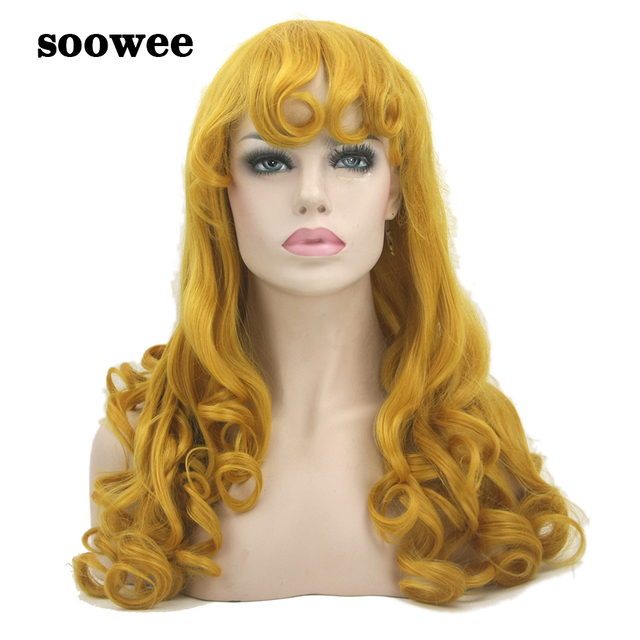 Soowee Long Curly Synthetic Hair Yellow Golden Wigs Women s Party Hair  Sleeping Beauty Cosplay Wig Hairpiece Hair Accessories 6eada82ec