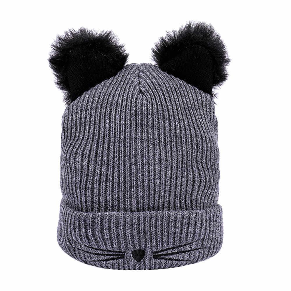 Hiver mignon bate-papo oreilles choud tricote feminino chapéu de manga curta chapeaux pompon casquetas femme bonnet feminino em laine
