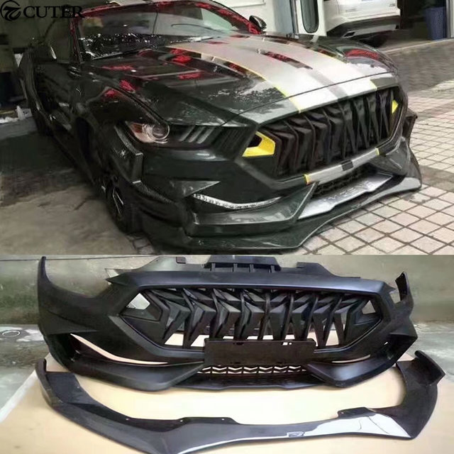 Us 1609 99 30 Off Frp Wide Car Body Kit Unpainted Front Bumper Carbon Fiber Front Lip For Ford Mustang Limgene One S Body Kit 15 17 In Body Kits