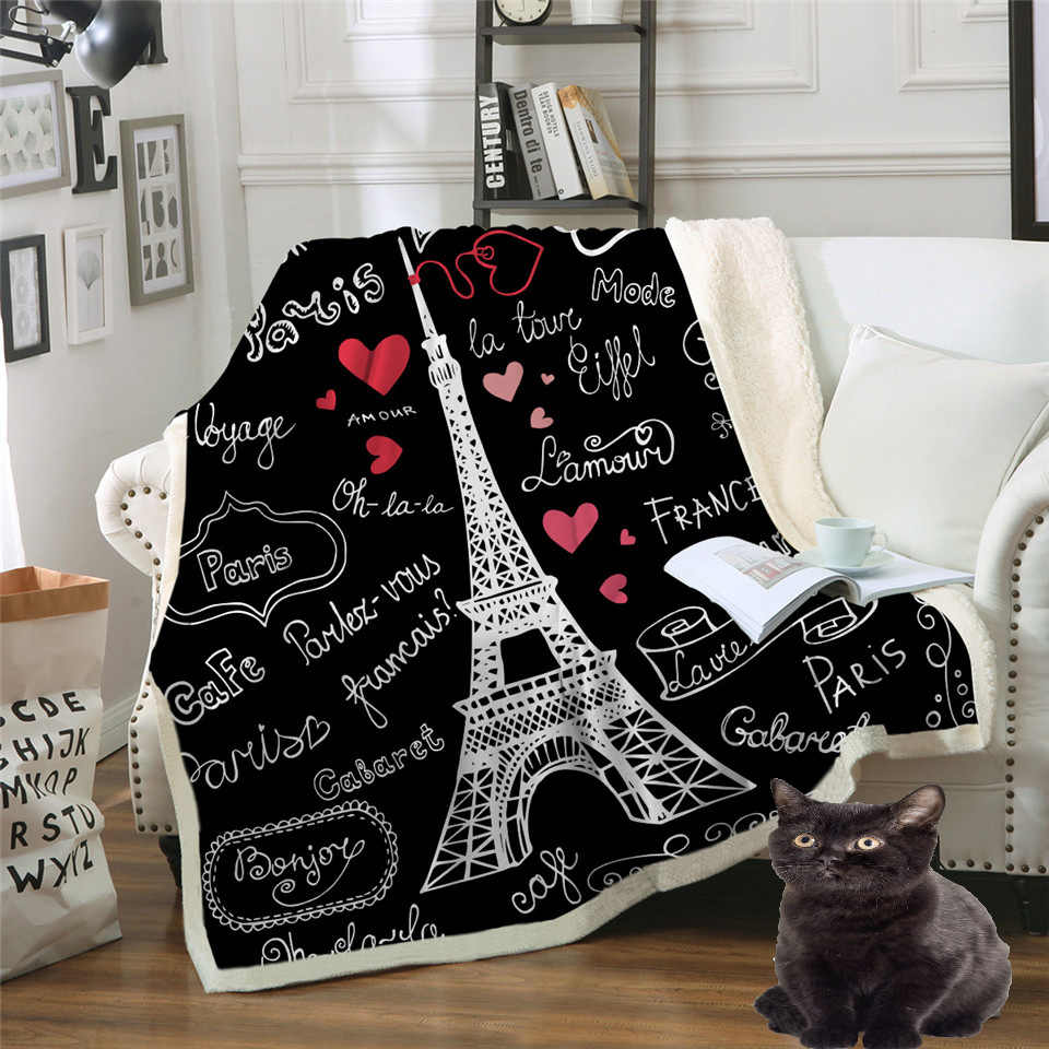 Paris Tower Throw Blanket on the Bed Romantic Letters Sherpa Fleece Blanket Heart Plush Sofa Plaid