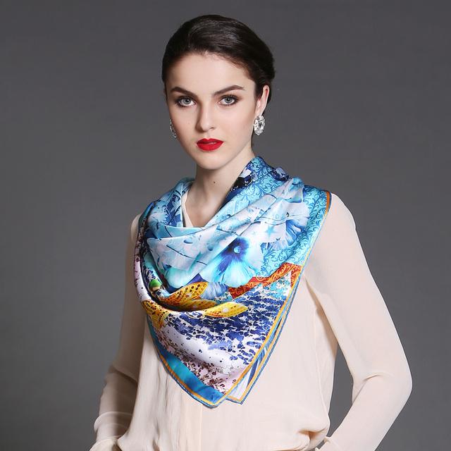 2014 ocasión de lujo breve print100 % seda de mora pura bufanda famosa marca cuadrado grande de moda de la impresión floral del partido de la bufanda de seda