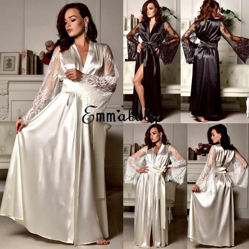69d39254e8 ... New Lingerie Sleepwear Satin Lace Sexy Women Sissy Long Sleeve Loose  Bathrobe Kimono Babydoll Nightwear Robe ...