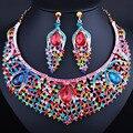 FARLENA pavo real en forma de JOYERÍA plateada Oro de La Manera Pendientes Cristalinos Del Collar set para Las Mujeres Perlas Africanas sistemas de la Joyería de Dubai