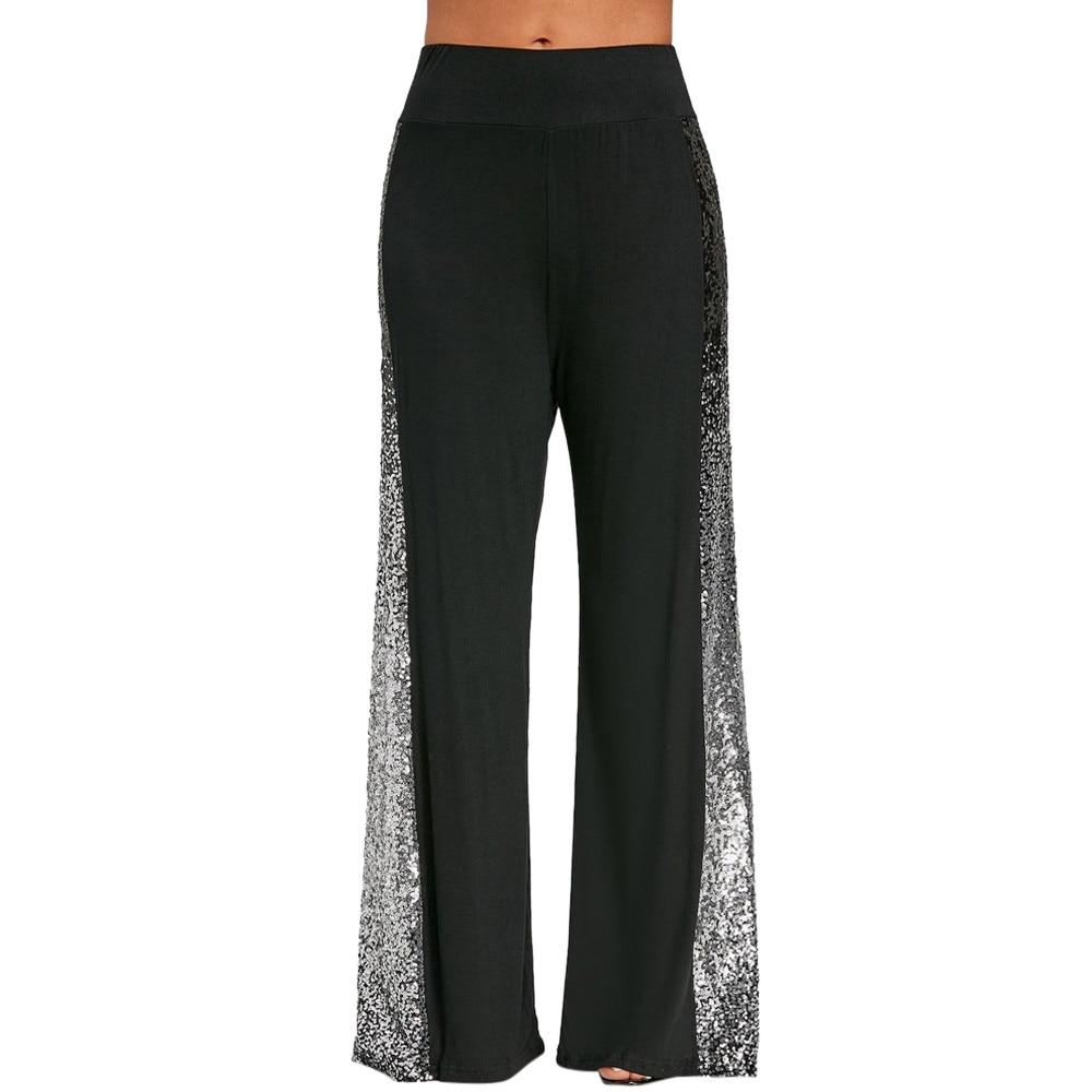2018 Women High Waist Long   Wide     Leg     Pants   Fashion Womens Casual   Wide     Leg     Pants   Gradient Sequins Insert Maxi Trousers