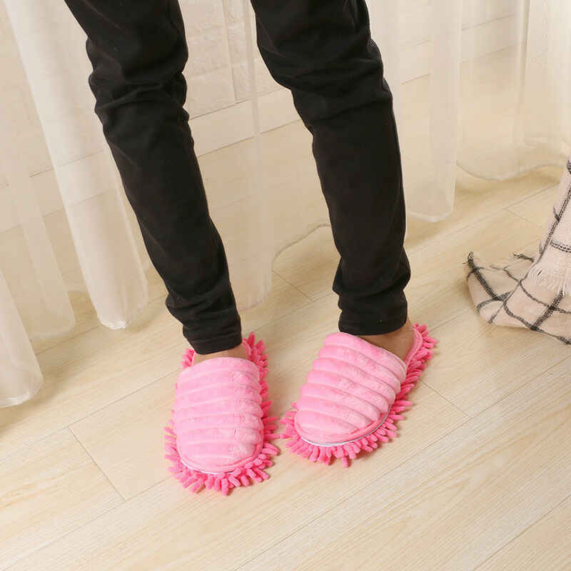 A Pair Magic Mop Slippers Lazy Floor Clean Hair Dust With Walking