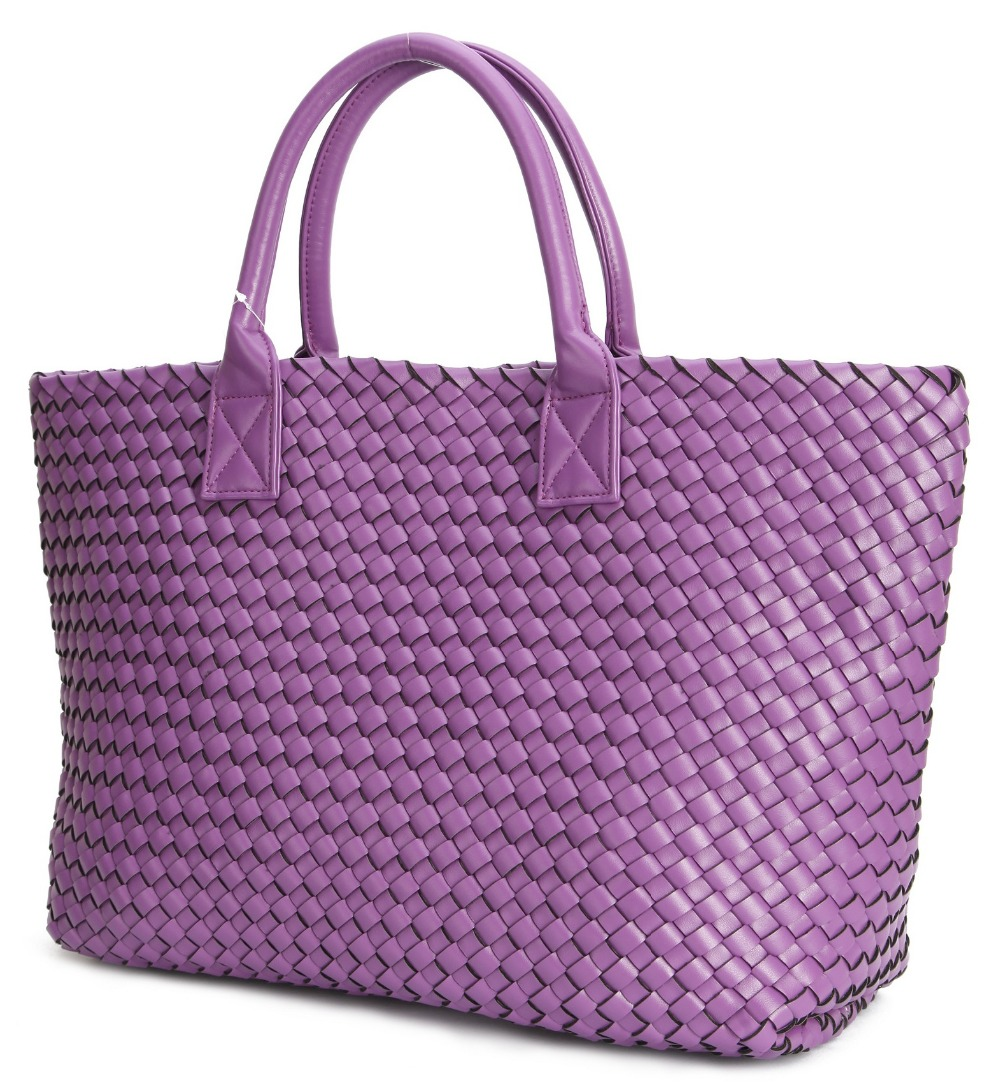 Fashion Luxury Premium Faux Leather Woven Cabat Tote Bag High Quality Handbags Candy Color Women Shoulder Bags Large Purse In Top Handle From