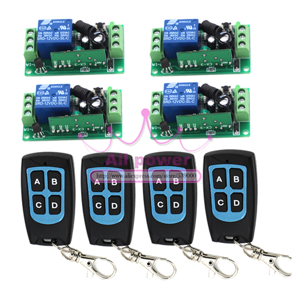 1CH 12V Interlock Wireless Remote Control Switch Relay Controller 315MHZ Module 4 Controller & 4 Receiver 315 433mhz 12v 2ch remote control light on off switch 3transmitter 1receiver momentary toggle latched with relay indicator