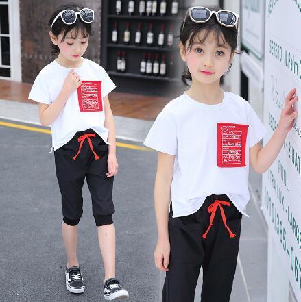Children clothing sets 2018 new Girls sports suit summer short sleeve shirt + pants kids Teen girl clothes two-piece suits