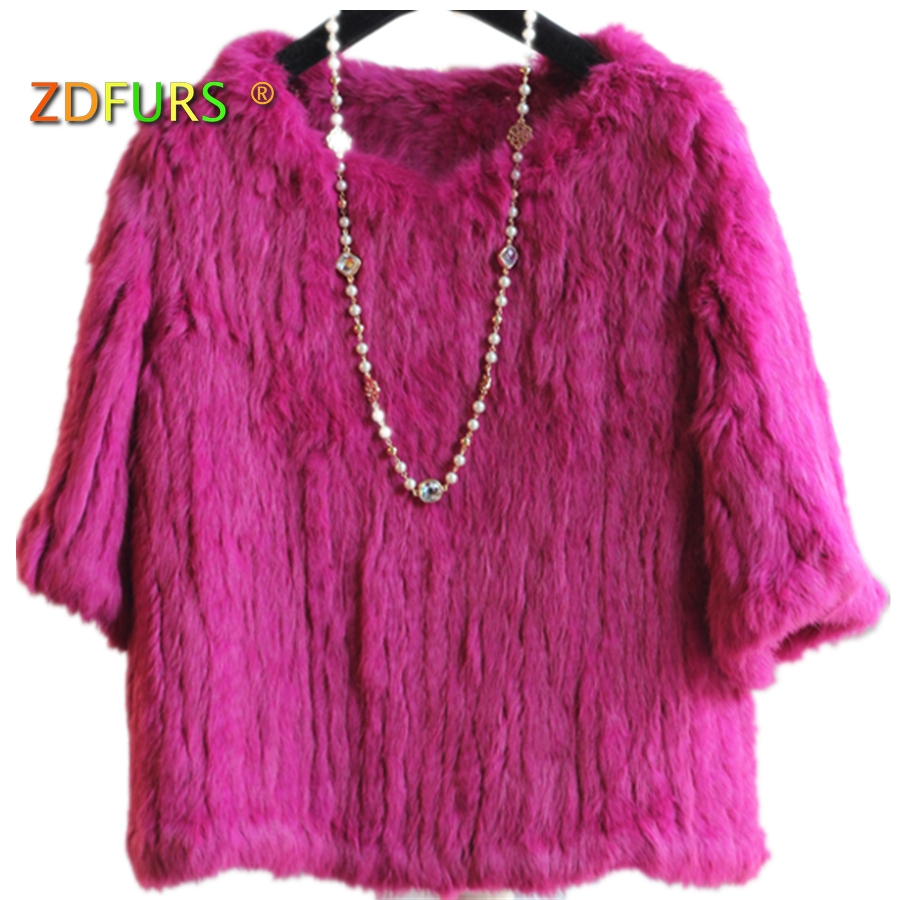 ZDFURS * Knitted Rabbit Fur Blouses Sweater Ladies Pullovers Real Rabbit Fur Coat Jacket Autumn Wineter Outerwear