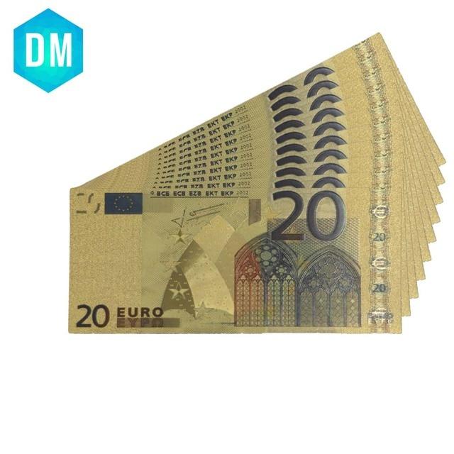 Billete de oro de 24 k europeo nota de Color dinero decoración del hogar billetes de moneda decorativos 999,9 papel de oro dinero falso para venta al por mayor