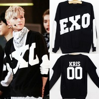 Kpop Exo Hoodies Black Korea Thin Sweatshirts Long Sleeve O Neck Women Men Exo Pullovers