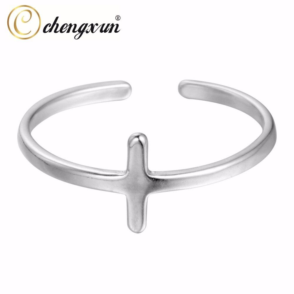 CHENGXUN Trendy Bijoux Rings for Women Men Unisex Simple Circle Cross Religous Finger Rings Opening Design Femme Bijoux Bague