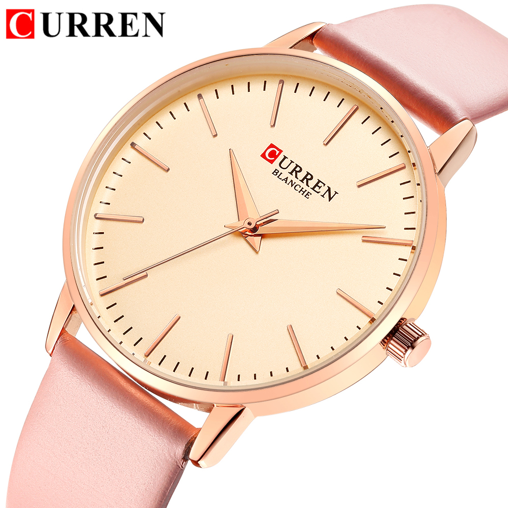 Women Watches Top Brand CURREN Women's Quartz Leather Wrist Watch Girls Ladies Dress Clock Female Watch Relogio Feminino L