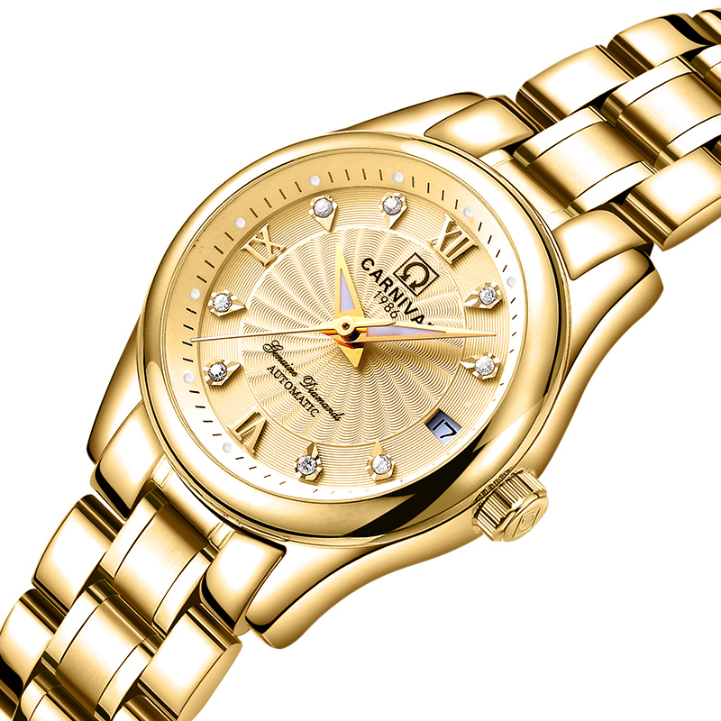 Carnival Women Watches Luxury Brand ladies Automatic Mechanical Watch Women Sapphire Waterproof relogio feminino C-8830-6 2017 carnival luxury brand mechanical watch women leather bracelet waterproof sapphire mirror stainless steel automatic watches