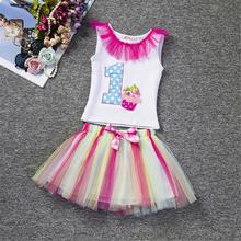 2017 New Baby Girl Letter Tutu Dress Infant 1st Birthday Party Outfit T-shirt+Bubble Skirt Newborns Baby Clothing Set 0 1 2years