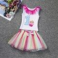 2017 nova carta menina tutu dress infantil primeiro aniversário do bebê partido Outfit T-shirt + Saia Da Bolha Recém-nascidos Roupa Do Bebê Set 0 1 2 anos