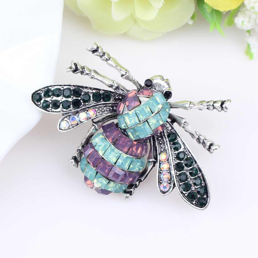 Bonsny Berlian Imitasi Alloy Serangga Perak Bros Pin Untuk Wanita Gadis Aksesoris Pakaian Dekorasi Wanita Syal Perhiasan Kid Hadiah