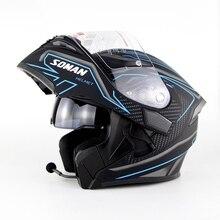 SOMAN 955-BT уличные гоночные мотоциклетные шлемы Встроенный Bluetooth Мото шлем флип-ап моторный велосипед Capacete Casco точка утверждения