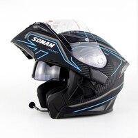 SOMAN 955 BT Street Racing Motorrad Helme Gebaut in Bluetooth Moto Helm Flip up Motor bike Capacete Casco DOT Zustimmung Helme    -