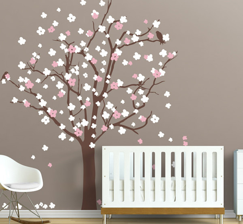 Large Tree Wall Decal With Cherry Blossoms Vinyl Sticker Baby Nursery Home Decor Wallpaper Kids Bedroom Murals A173 In Stickers From