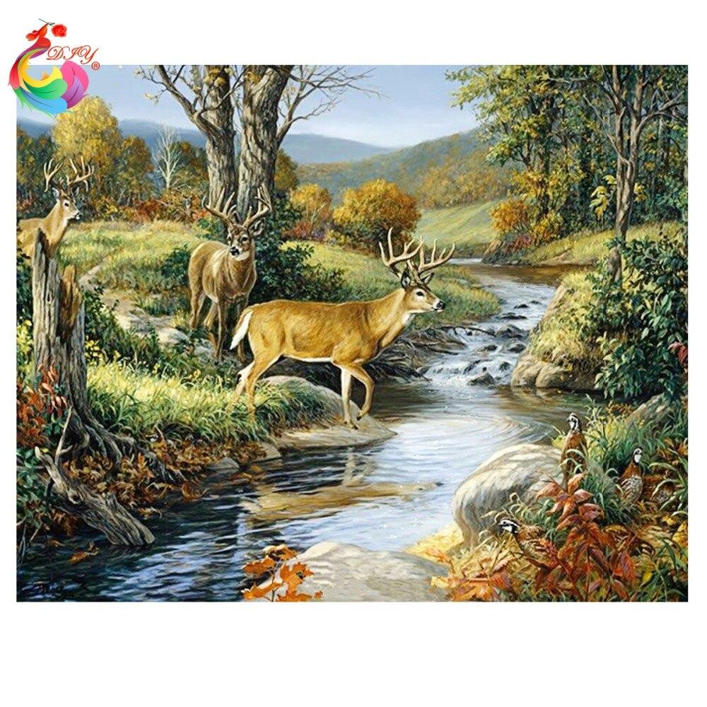 ₪Мозаика 3D diy пейзаж алмазной живописью лес дома ...
