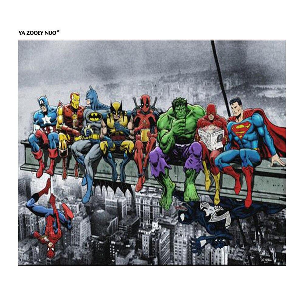5d Diy Diamond Painting Superman Cartoon Green Arrow Flash Home