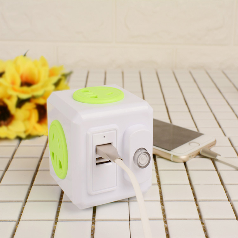 Smart Home PowerCube Socket EU Plug 4 Outlets 2 USB Ports Adapter Power Strip Extension Adapter With independent switch