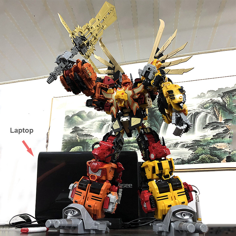 60CM Big 6 In 1 Robots Dinobots Combiner Dinosaur Rangers Action Figure Transformation Robots Children Best Gifts Megazord Toys