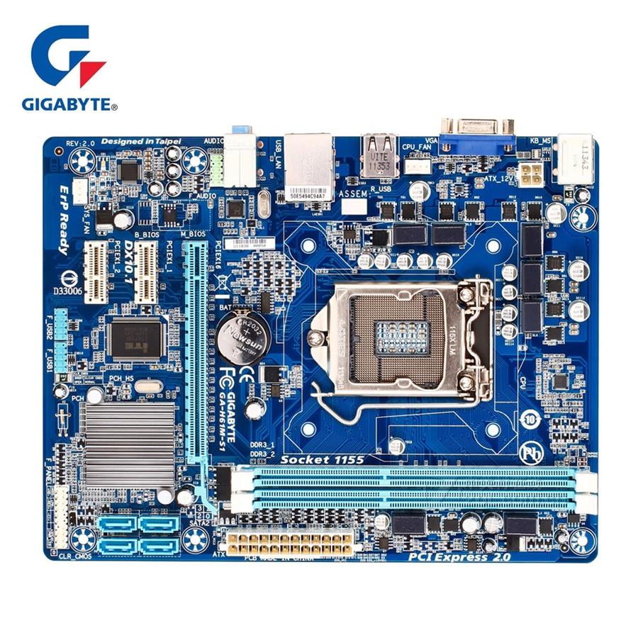 Gigabyte GA-H61M-S1 100% Original Motherboard Socket LGA 1155 DDR3 16G H61 H61M S1 Desktop Mainboard SATA II Used Systemboard gigabyte ga h61m d2 b3 desktop motherboard h61 socket lga 1155 i3 i5 i7 ddr3 16g u atx original h61m d2 b3 used mainboard