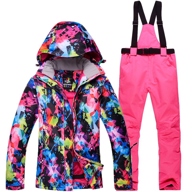 лучшая цена Ski Suit Set women's Snowboard Jacket And Pants Ski Suit Women Windproof Waterproof Winter Jacket Free Shipping 2018 New
