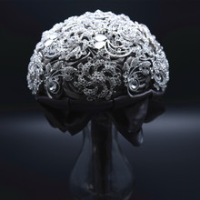 AYiCuthia Luxury Wedding Bouquet Crystal Bridal Brooch Jeweled S2