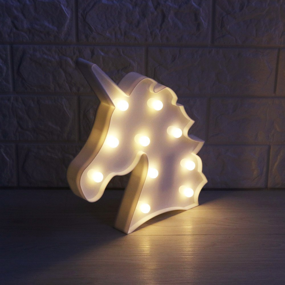 Lumiparty 3d unicorn marquee light with 10 warm white led for Decoration with lights