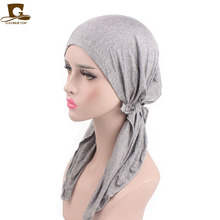 Elegant Girl Solid Headwear Soft Lycra Pre Tied Fitted Womens Bandana Head Wrap Scarf